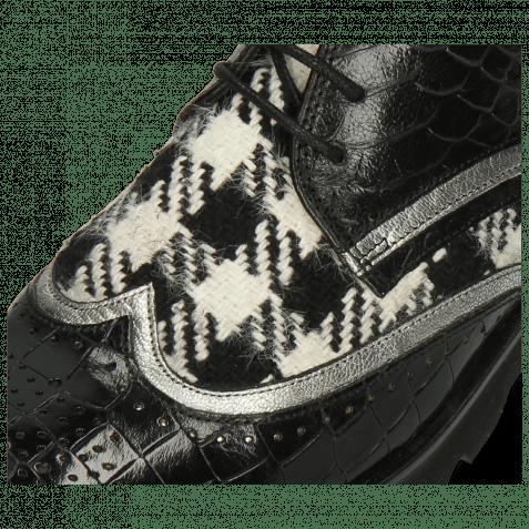 Stiefeletten Sally 30 Crock Black Nappa Aztek Silver Textile Tweed Black White
