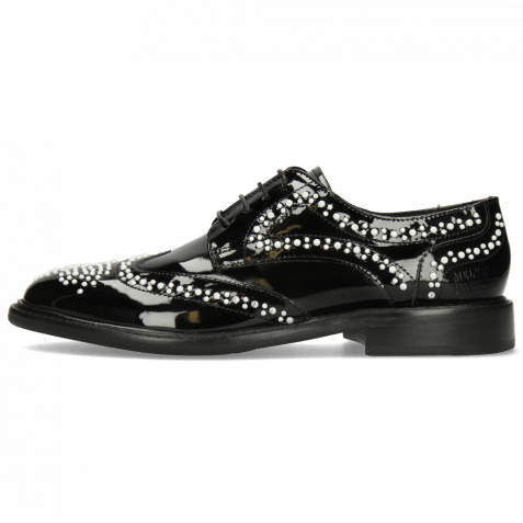 Derby Schuhe Sally 53 Patent Black Rivets White