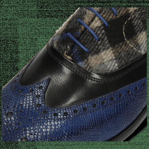 Oxford Schuhe Lewis 4 Python Electric Blue Black Textile Crayon