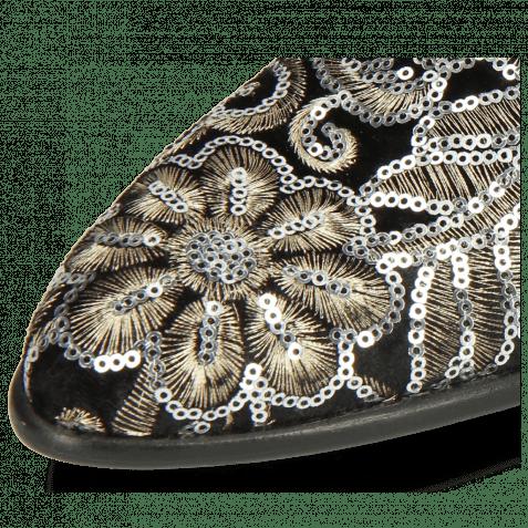Derby Schuhe Toni 1 Textile Zardosi Black Lining