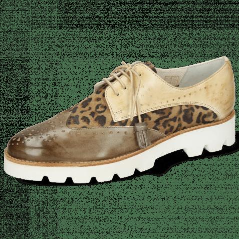Derby Schuhe Selina 41 Vegas Light Grey Beige Suede Leo Beige