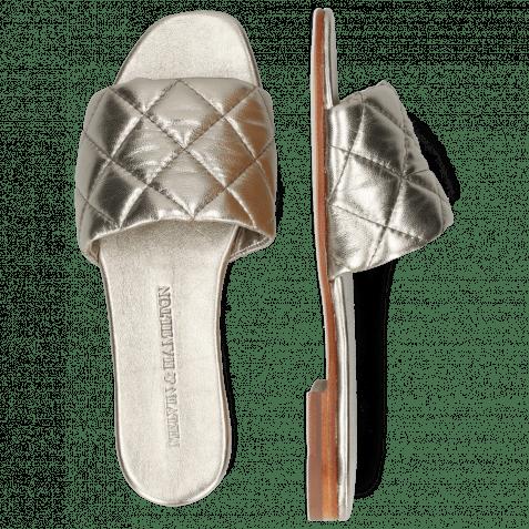 Pantoletten Elodie 37 Metallic Nappa Pewter Footbed
