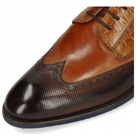 Derby Schuhe Bobby 1 Dice Mid Brown Alcohol Finish Tan Croco Sand