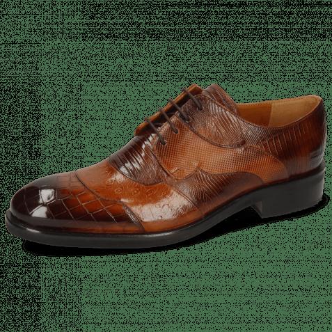 Derby Schuhe Patrick 27 Crock Wood Ostrich Tan Guanna Wood Dice Lizzard