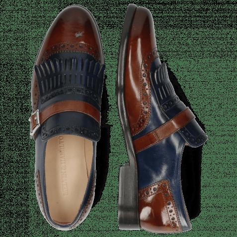 Monk Schuhe Selina 2 Classic Brown Navy Strap