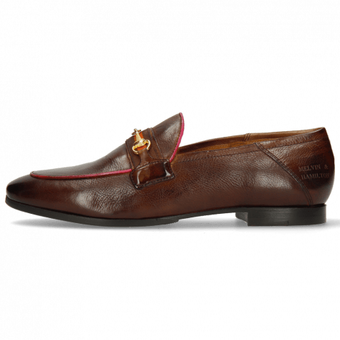 Loafers Scarlett 45 Pisa Mid Brown Binding Fuxia