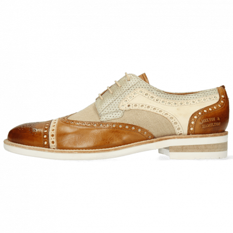 Derby Schuhe Henry 7 Imola Camel Nude Beige Perfo New Sand