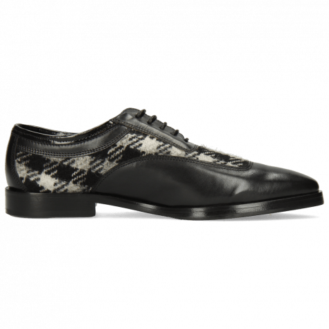 Oxford Schuhe Sara 1 Soft Patent Black Textile Square Black White