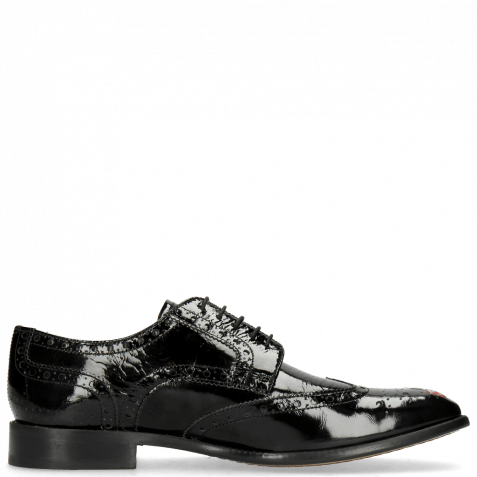 Derby Schuhe Eddy 38 Soft Patent Black Embroidery Flowers
