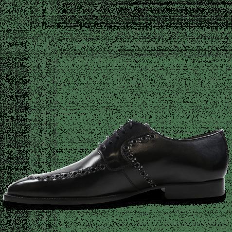 Derby Schuhe Woody 8 Black Rivets Gunmetal
