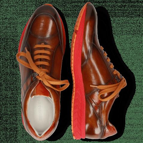 Sneakers Blair 15 Tan Dark Brown Patch Orange
