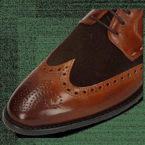 Derby Schuhe Victor 2 Rio Mid Brown Suede Pattini Dark Brown