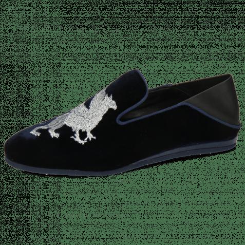 Loafers Scarlett 37 Velluto Midnight Nappa Black Embroidery Dragon