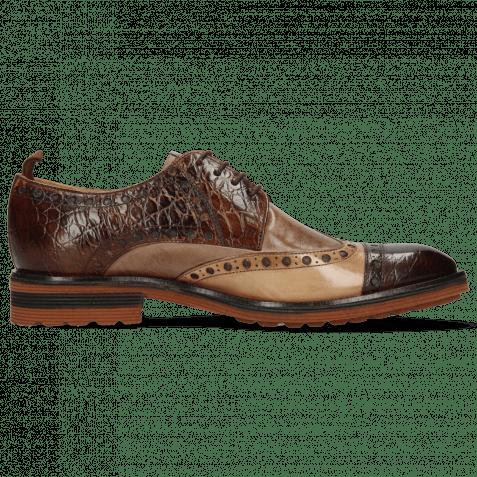 Derby Schuhe Eddy 48 Croco Mink Cappuccino Chestnut
