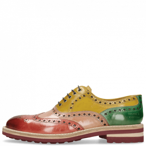 Oxford Schuhe Trevor 1 Rich Red Sun Electric Green Laces Navy