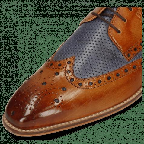 Derby Schuhe Martin 15 Berlin Tan Perfo Navy
