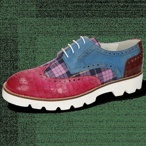 Derby Schuhe Matthew 29 Crock Dark Pink Plum Tex Check Mid Blue