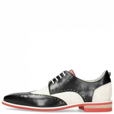 Derby Schuhe Dave 2 Black Vegas Perfo White Nappa Red