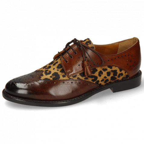 Derby Schuhe Selina 41 Mid Brown Hairon Tanzania Wood