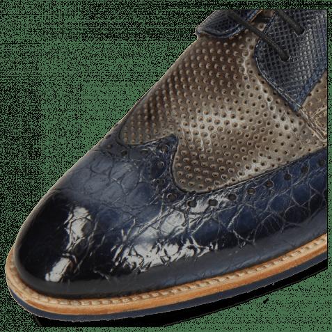 Derby Schuhe Bobby 1 Croco Marine Alcohol Finishing Perfo Grigio