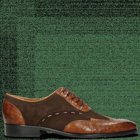 Oxford Schuhe Rico 18 Venice Crock Wood Suede Pattini Dark Brown