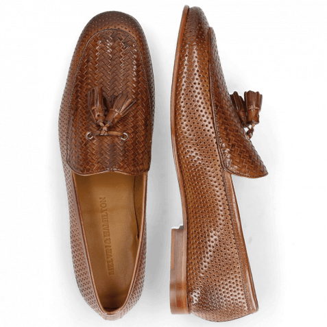 Loafers Clive 21 Perfo Tan Haring Bone Weave