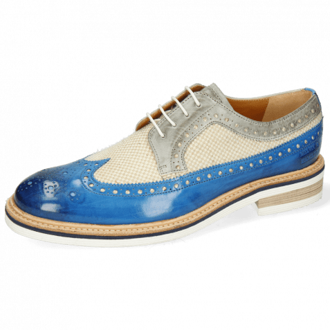 Derby Schuhe Trevor 10 Vegas Bluette Digital Linen Jute Mesh