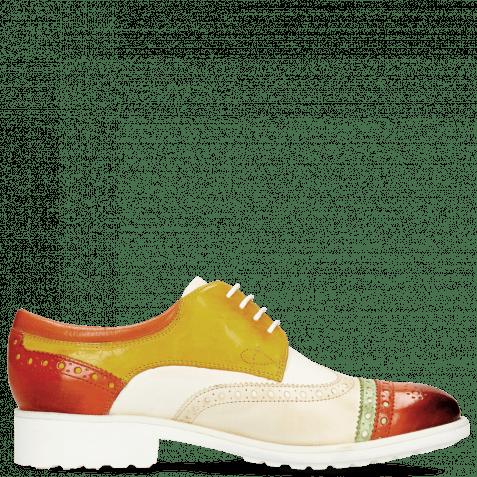 Derby Schuhe Amelie 85 Vegas Sweet Heart Nude White Yellow Glove Nappa Kumquat