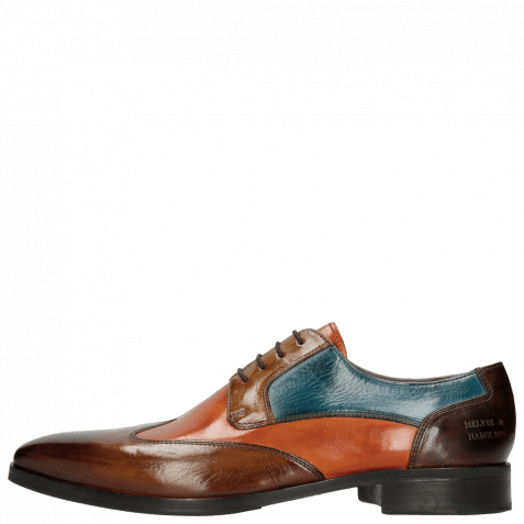 Derby Schuhe Lance 9 Wood Orange Tortora Bluette Dark Brown HRS
