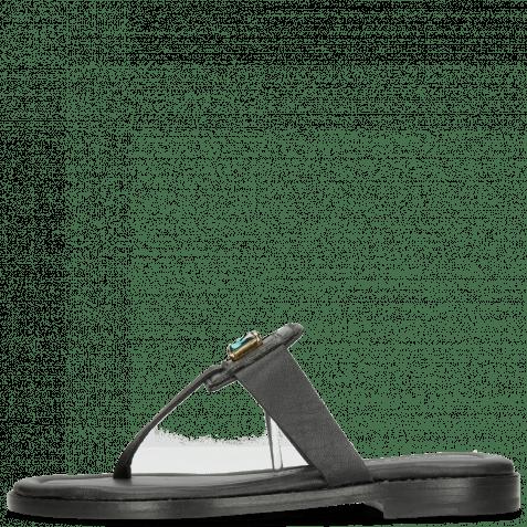 Pantoletten Elodie 30 Nappa Black Stone Emerald