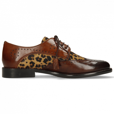 Derby Schuhe Selina 41 Mid Brown Hairon Tanzania Wood
