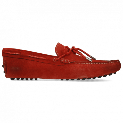 Loafers Nelson 3 Suede Dark Red Laces Woven