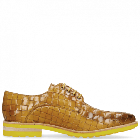 Derby Schuhe Brad 7  Woven Yellow Lining