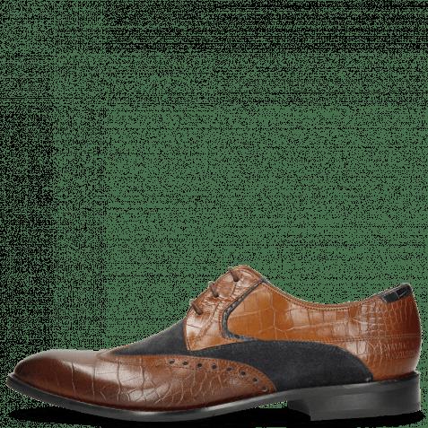 Derby Schuhe Victor 9 Venice Croco Mid Brown Suede Textile
