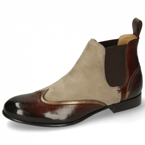 Stiefeletten Sally 19 Chestnut Nappa Aztek Bronze Sheep Suede Elephant