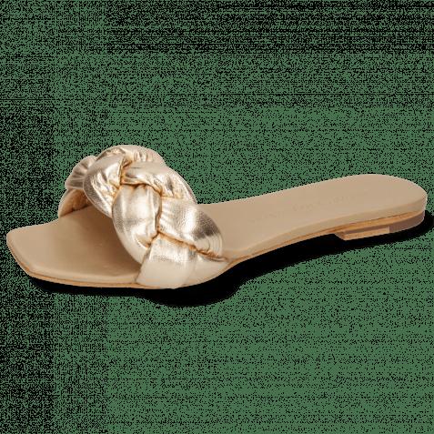 Pantoletten Sandrine 3 Nappa Nude Gold Footbed
