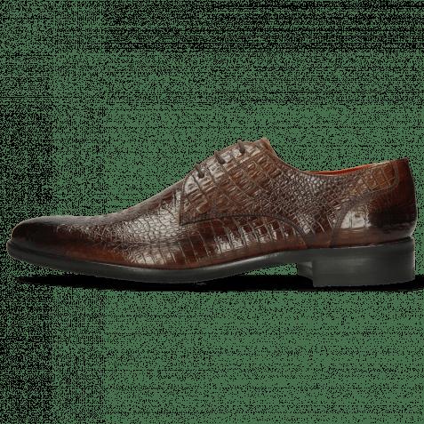 Derby Schuhe Toni 1 Baby Croco Mid Brown Modica Navy