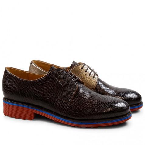 Derby Schuhe Amelie 9 Phyton Dark Brown Nappa Aztek Bronze Rook D Red EVA Blue