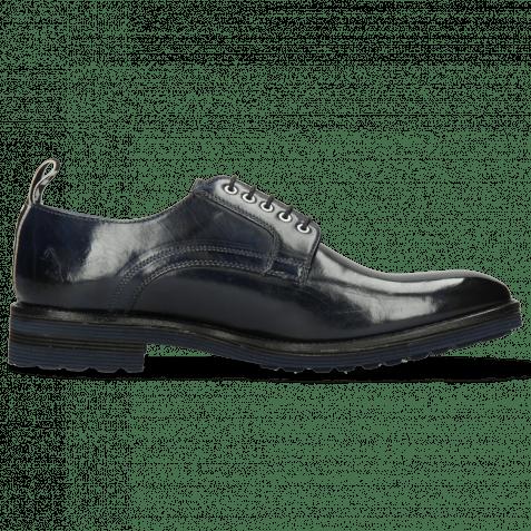 Derby Schuhe Eddy 54 Navy Eyelets White Strap