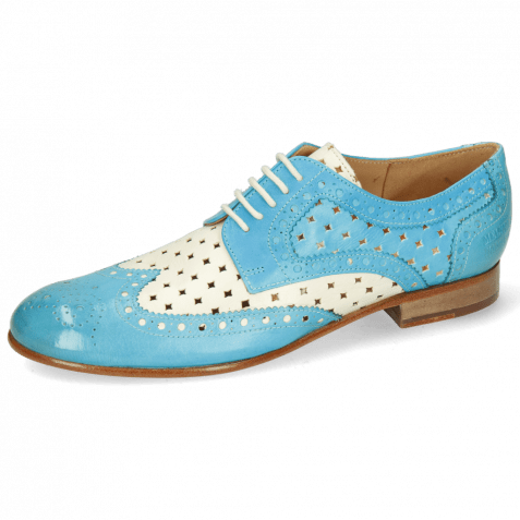 Derby Schuhe Sally 66 Imola Abyss Turquoise Perfo White