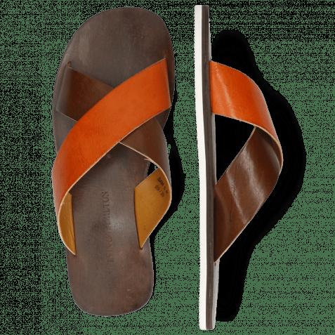 Pantoletten Sam 5 Imola Dark Chocolate Arancio