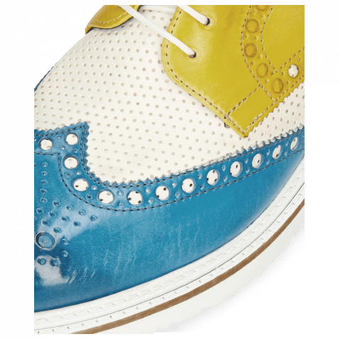 Derby Schuhe Blake 1 Vegas Mid Blue Perfo White Sun
