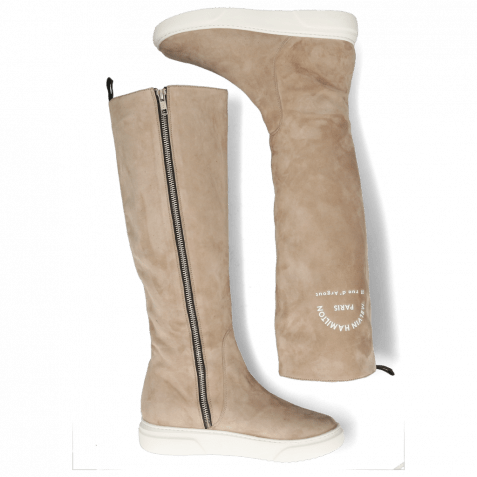 Stiefel Hailey 11 Sheep Suede Rubber Print White Elephant