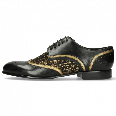 Derby Schuhe Sally 15 Black Venito Gold Textile Tweed Black Gold