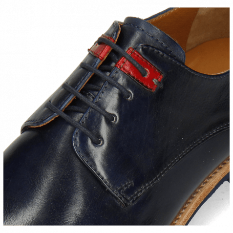 Derby Schuhe Clint 1 Imola Navy Deco Pieces Ruby