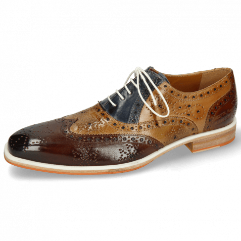 Oxford Schuhe Jeff 28 Mid Brown Bamboo Navy Sand Wood
