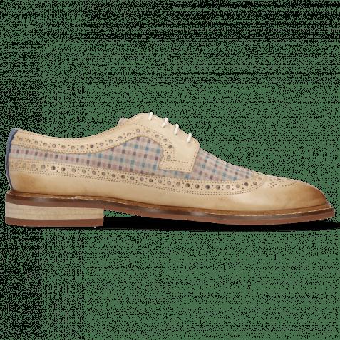 Derby Schuhe Logan 6  White Suede Mady Nougat Moroccan Blue
