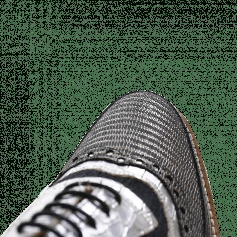 Derby Schuhe Lena 1 Brush Silver Black Rinca Metal Pewter Timor Light Pink Hair On Black Ladakh White Light Grey