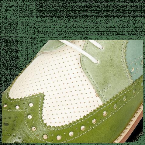 Derby Schuhe Amelie 20 Vegas Ultra Perfo White Algae Sweet Green