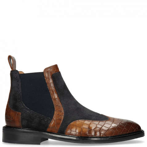 Stiefeletten Logan 2 Venice Crock Mid Brown Suede Pattini Perfo Navy